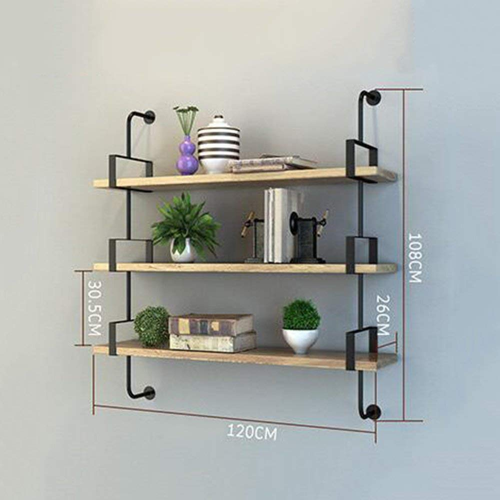 3 Layers 120cm DYR Shelving Multi-Storey Shelving Wall Suspension for Bedroom Club Hotel Living Room (color  1 Layer 100cm)