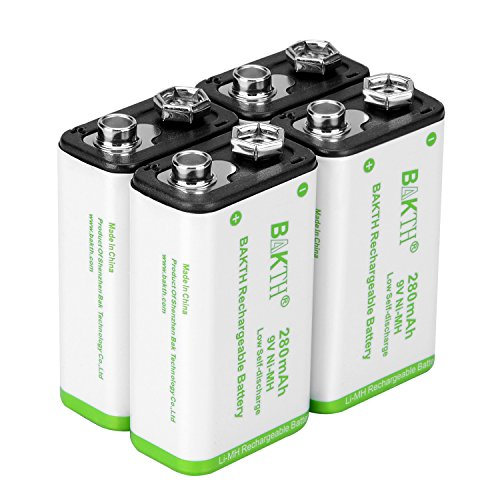 BAKTH 9V Advanced NiMH Battery 9 Volt 280mAh High Performance Low Self-Discharge Rechargeable Batteries (4 Pack)