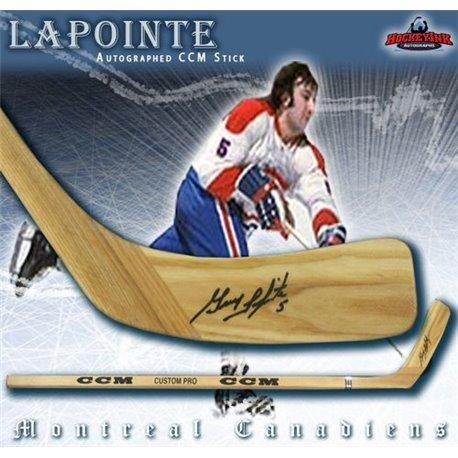 (Guy Lapointe Signed Stick - Wood Model CCM Player - Autographed NHL)