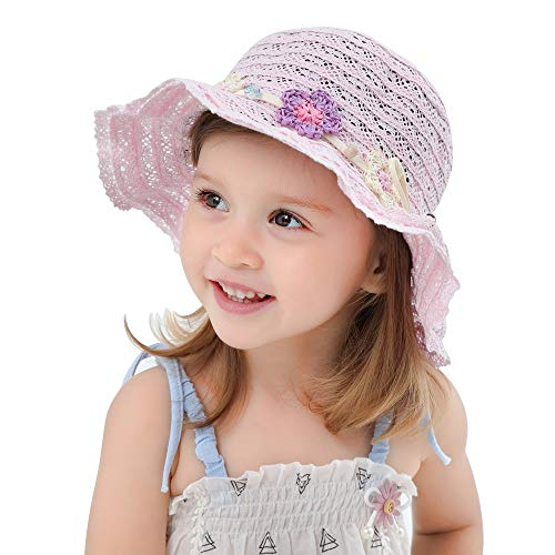 Toddler Kids Baby Girls Floppy Sun Hat with Baw Child Beach Lace Summer Hollow Out Cap Pink
