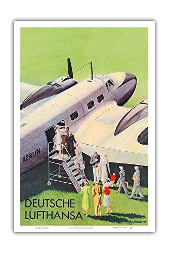 Pacifica Island Art Berlin - German (Deutsche) Lufthansa Airlines - Vintage Airline Travel Poster by Siegward c.1937 - Master Art Print - 12in x 18in