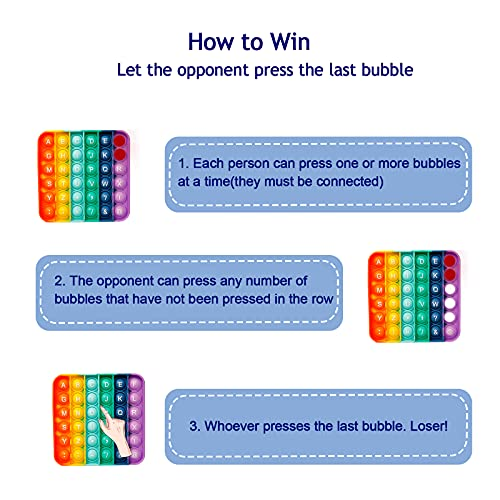 Pop Fidget Sensory Toy, Push Bubble Autism Stress Relief Silicone Rainbow Pressure Relieving Toys Educational Game Gift for Kids Teens Adults (Square)
