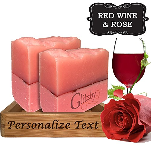 Red Wine & Rose Personalized Handmade Soap Set - (2 pack with Bamboo Soap Dish) Cold Process Soap Bar with Tray like Gift Basket