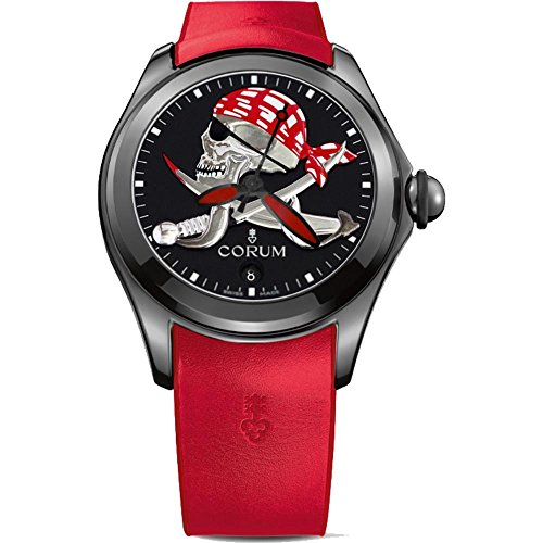 Corum Men's Bubble Halloween Pirate 47mm Rubber Band IP Steel Case Automatic Watch 082.310.98/0376 PIRA