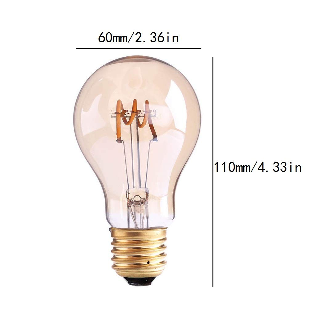LXcom Vintage LED Edison Bulbs 3W Dimmable Filament Light Bulb 25W Incandescent Equivalent 300LM Soft White 2200K A60 A19 Antique E26 Medium Base for Home Decor 2 Pack