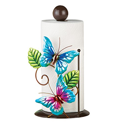Blue Butterfly Kitchen Countertop Metal Paper Towel Holder Stand