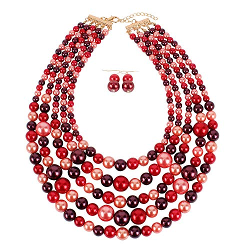 KOSMOS-LI Faux Pearl Strands Necklace for Women Red Mix Tone Costume Statement Jewelry