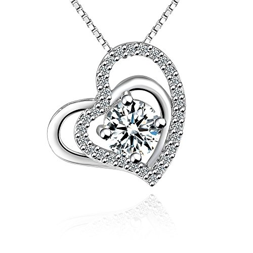 Love Heart Pendant Necklace - Fleur Rouge18k White Gold Plated Cubic Zirconia Double Layer Heart Pendant Necklace with Box Chain