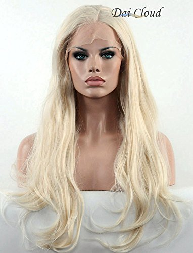 Dai Cloud Platinum Blonde Lace Front Wig Long Straight Synthetic Wig for - To Dress Female Celebrities Up As
