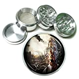 Zombie Man Steampunk Em1 Silver Chrome 63mm Aluminum Magnetic Metal Herb Grinder 4 Piece Hand Muller Spices & Herb Heavy Duty 2.5''