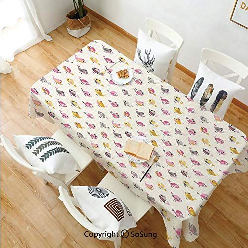 SoSung Baby Rectangle Polyester Tablecloth,Cartoon Style Birds with Fancy Funny Animals with Accessories Top Hat Flowers,Dining Room Kitchen Rectangle Table Cover,60W X 120L inches,Pink Grey Marigold