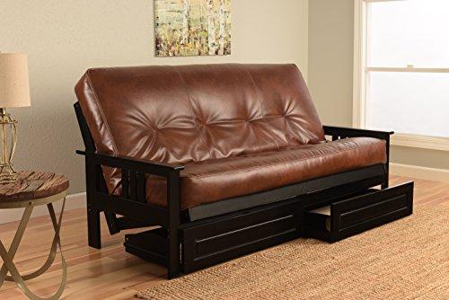 (Kodiak Furniture KFMOBKOTSLF5MD3 Monterey Futon Set with Black Finish and Storage Drawers Full Oregon Trail Saddle)