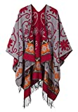 Women's Fashionable Retro Style Vintage Pattern Tassel Poncho Shawl Cape (Series1-light gray)