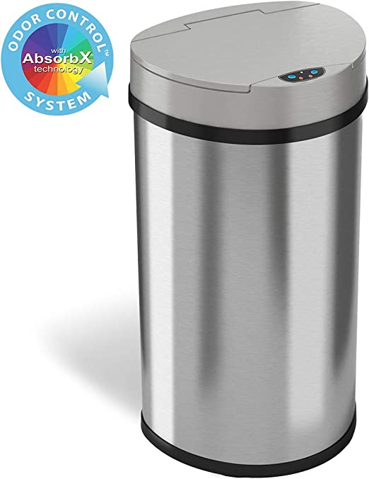 iTouchless 13 Gallon Sensor Kitchen Trash Can with Odor Control System,  Stainless Steel Semi-Round Extra-Wide Opening Touchless Automatic Garbage  Bin