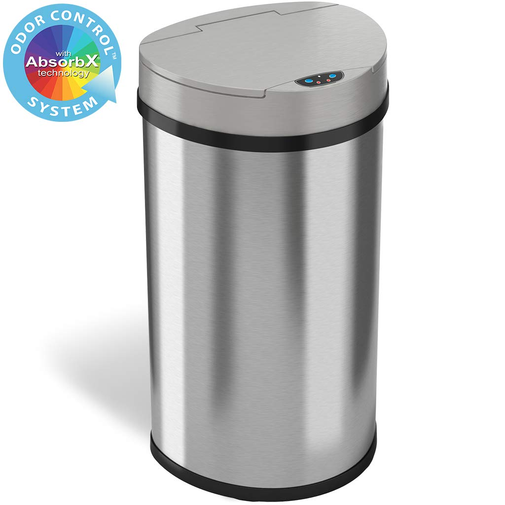 iTouchless 13 Gallon Sensor Kitchen Trash Can with Odor Control System, Stainless Steel Semi-Round Extra-Wide Opening Touchless Automatic Garbage Bin by iTouchless
