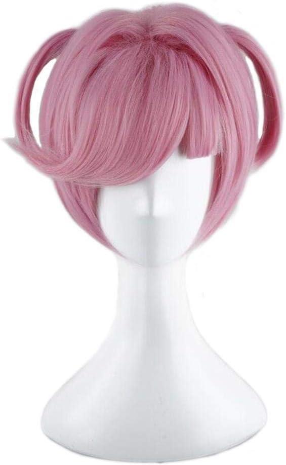 Perruques roses courtes Halloween Cosplay pour le jeu DDLC Doki Doki Literature Club Natsuki Costume femmes r/ésistant /à la chaleur synth/étique pleine perruque de cheveux avec frange