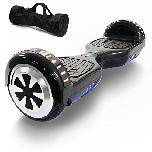 Hoverboard Self Balancing Scooter UL 2272 Certified with Powerful Bluetooth Speaker, Cool LED lights and FREE Portable Carrying Bag (Jet Black)