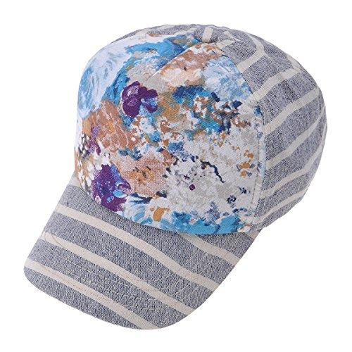 (ZLYC Women Striped Floral Cotton Baseball Cap Adjustable Curved Snapback Hat, Purple)