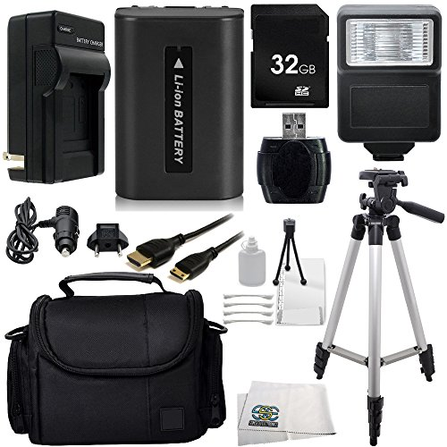 Essential 32GB Accessory Kit for Sony Cybershot DSC-HX100V and DSC-HX200V Digital Cameras. Includes 32GB SD Memory Card + High Speed Memory Card Reader + Replacement NP-FH50 Battery + AC/DC Rapid Home & Travel Charger + Digital Slave Flash + Full Size Tripod + Mini HDMI Cable + Carrying Case + Deluxe Camera Starter Kit + Microfiber Cleaning Cloth