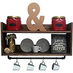 Rustic kitchen shelf, coffee bar shelf, wall hanging shelf, farmhouse shelf, coffee bar décor, home décor, pot rack, wood spice rack, rustic
