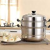 Beeiee 3 Tier Stainless Steel Steamer Cookware Pot Saucepot Multi-layer Boiler