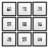 Golden State Art, Smartphone Instagram Frames Collection, Set of 9, 11x11-inch Square Photo Wood Frames with White Photo Mat & Real Glass for 4x4 photo, Black