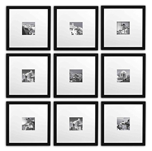Golden State Art, Smartphone Instagram Frames Collection, Set of 9, 11x11-inch Square Photo Wood Frames with White Photo Mat & Real Glass for 4x4 photo, - Black Frames Square