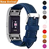 Fullmosa Fitbit Charge 2 Band/Fitbit Charge 2 Strap/Wristbands/Fitbit Charge 2 Replacement/Fitbit Charge 2 Accessories, Genuine Leather strap for Fitbit Charge 2, Dark Blue