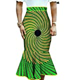 Buildhigh Women's Dashiki Africa Midi Mermaid Cotton Club Bodycon Skirt 15 S