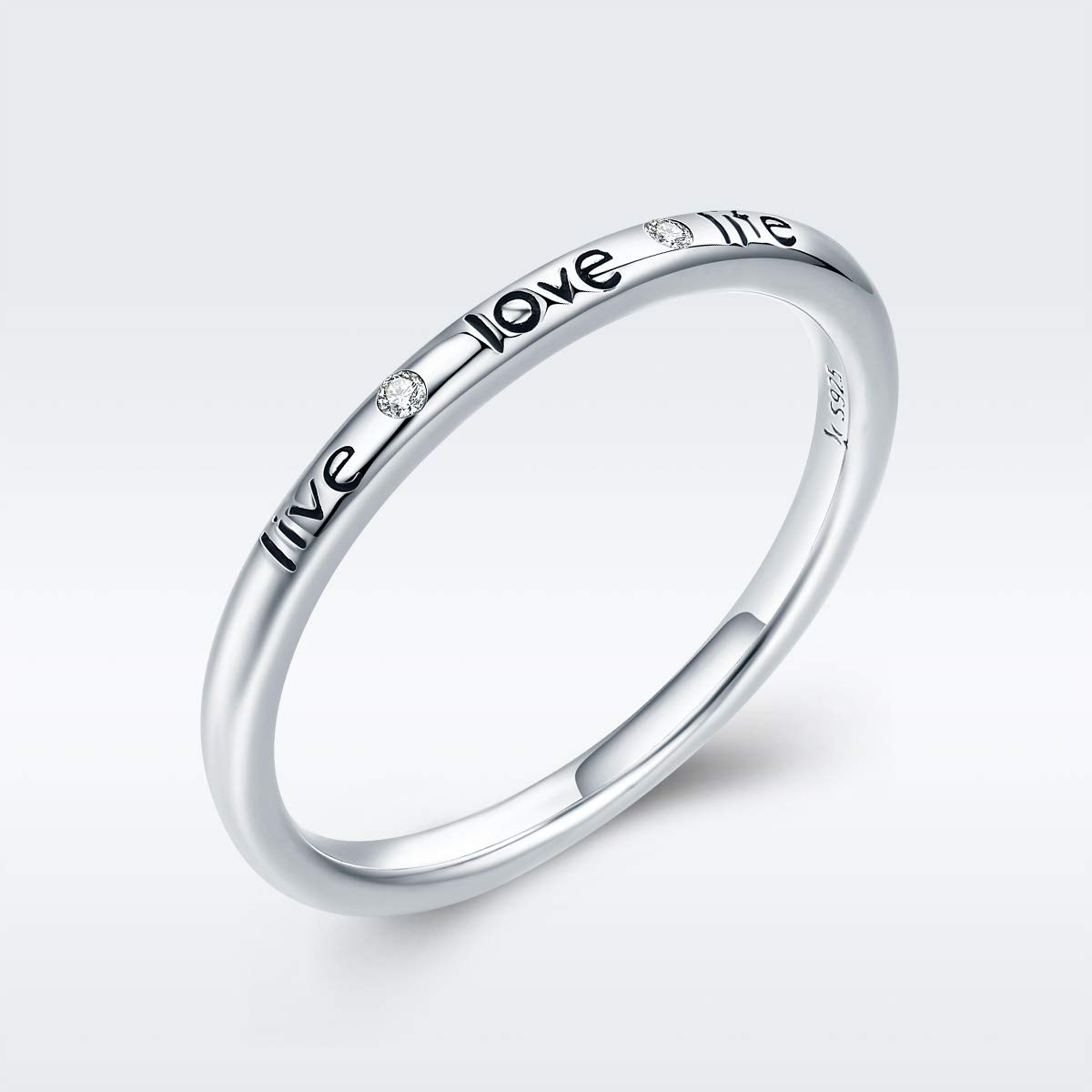 Clear CZ The Kiss Live Love Life Letter Engrave 925 Sterling Silver Ring