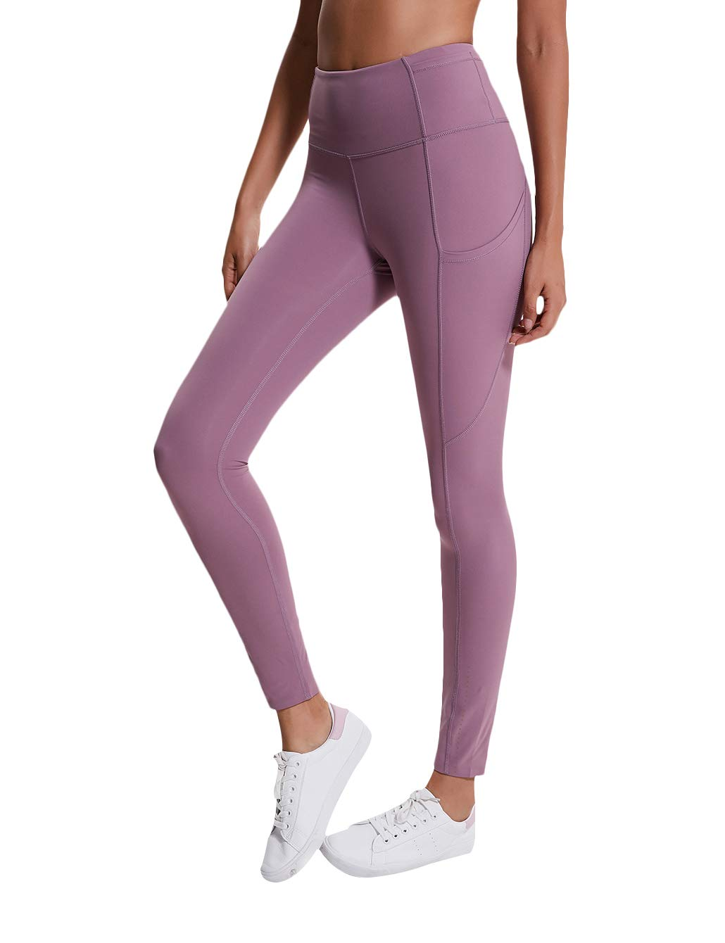 AJISAI Women High Waist Leggings with Pockets,Tummy Control Workout Running Stretch Yoga Pants Color Vintage Plum Size S