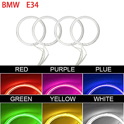 Qiuko 4x120mm Car CCFL Halo Rings Angel Eyes LED Headlights for BMW E32 E34 E30 DRL Car-Styling 6-Color (red)