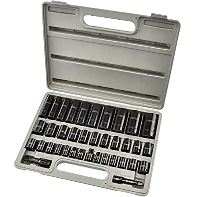 "Neiko 02443A Complete 3/8"" and 1/2"" Drive Impact Socket Set, CR-V Steel 