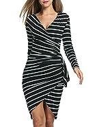 Acevog Women Long Sleeve Casual Striped Wear to Work Party Pencil Dress
