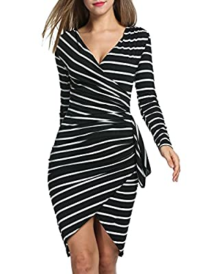 Acevog Women Long Sleeve Casual Striped Wear to Work Party Pencil Dress