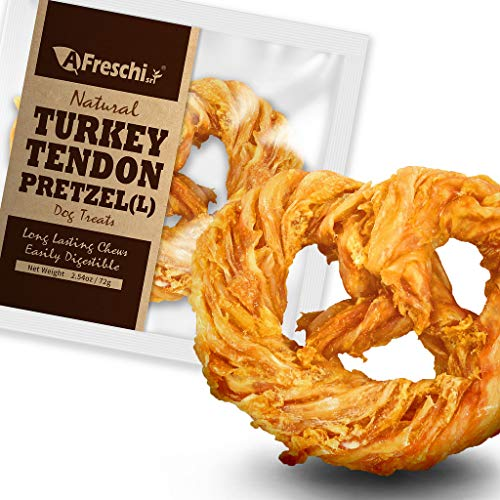 AFreschi Turkey Tendon for Dogs, Premium All-Natural, Hypoallergenic, Long-Lasting Dog Chew Treat, Easy to Digest, Alternative to Rawhide, Ingredient Sourced from USA, 1 Unit/Pack Pretzel (Large)