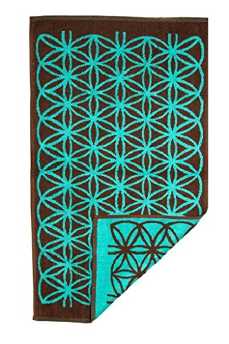 o Psychedelic Hand Towel, Brown and Turquise Flower of Life (Jacquard woven, Reversable, 35x20, 100% Cotton) by (Hand Woven Arts)