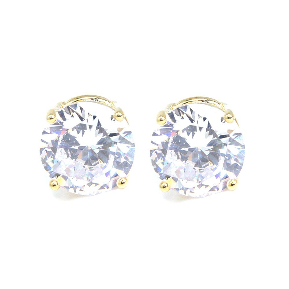 Me Plus Stainless Steel Round Cut Cubic Zirconia Stud Earrings With Clear Case - Gold, Silver (3mm~12mm)