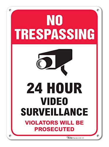 Trespassing Video Surveillance Warning Aluminum product image