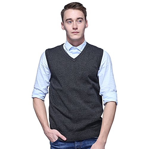 FASHIONMIA Mens Casual Solid Slim Fit V-Neck Knit Vest Sweater Dark Grey M