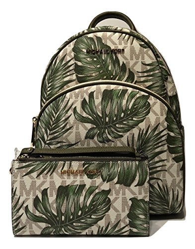Abbey Messenger - MICHAEL Michael Kors Abbey MD Backpack bundled with Michael Kors Jet Set Travel Double Zip Wallet Wristlet (Signature MK Vanilla/Olive)