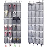 Over The Door Shoe Organizer,Hanging Shoe Holder Closet Organizer with 24 Extra Large Mesh Pockets for Men Sneakers,Women High Heeled Shoes,Slippers with More 4 Hooks (61.4' x22')