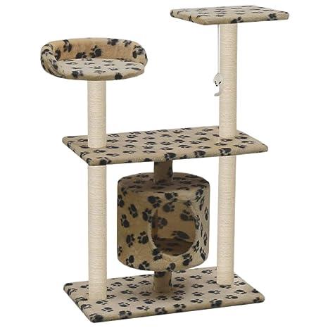 vidaXL Rascador para Gatos y Poste Rascador Sisal 95cm Huellas Beige Mascotas