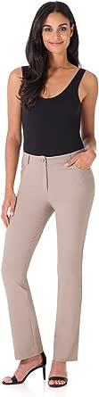 REKUCCI Women's Iconic Stretch 5 Pocket Straight Leg Pant w/Zipper Closure 6 Khaki