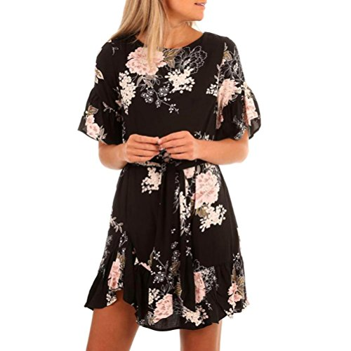 Joint Long Sleeve - Joint Women Dress 2018 Summer Ruffles Floral Print Short Sleeve Chiffon Casual Mini Dresses (Large)