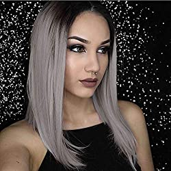 AISI HAIR Short Gray Wigs Straight Ombre Color Hair Middle Part Synthetic Wigs for Women Shoulder Length Dark Roots Wigs Heat Resistant Fiber Wig