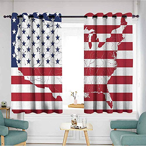 - duommhome American Flag Noise Reduction Curtain America Continent Shaped Flag Martial Design International World Glory Print Suitable for Bedroom Living Room Study, etc.63 Wx63 L Navy Red