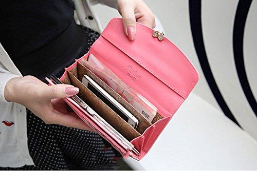 Vin beauty Mujer dama Compras informales Dulce largo Vogue con estilo del corazón coreano Monedero de monedero Bolso #2