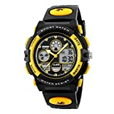 Awatch Kids Digital Electronic Wrist watch, Led Analog Quartz Dual Time Zone with PU Resin Band, Chronograph, Alarm,Calendar Date, EL Backlight Waterproof for Boy Girl Outdoor Sports