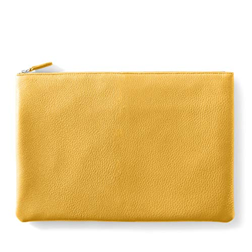 Large Pouch - Full Grain Leather Leather - Turmeric (yellow)